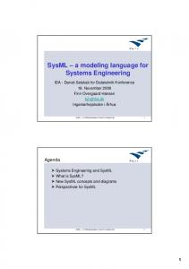 SysML a modeling language for Systems Engineering