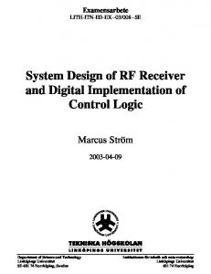 System Design of RF Receiver and Digital Implementation of Control Logic