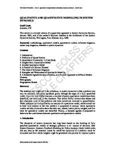 SYSTEM DYNAMICS Vol. II - Qualitative and Quantitative Modelling in System Dynamics - Geoff Coyle