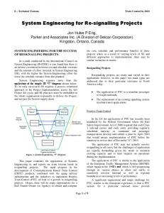 System Engineering for Re-signalling Projects