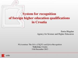 System for recognition of foreign higher education qualifications in Croatia