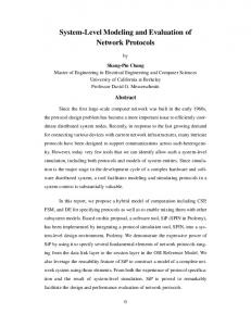 System-Level Modeling and Evaluation of Network Protocols
