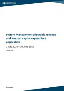 System Management allowable revenue and forecast capital expenditure application