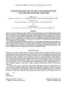 SYSTEM PARAMETERS OF SOIL FOUNDATIONS FOR TIME DOMAIN DYNAMIC ANALYSIS