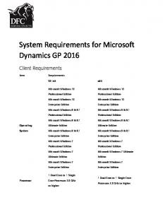 System Requirements for Microsoft Dynamics GP 2016
