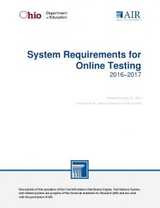 System Requirements for Online Testing