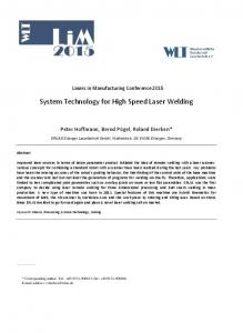 System Technology for High Speed Laser Welding