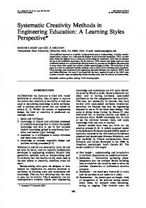 Systematic Creativity Methods in Engineering Education: A Learning Styles Perspective*