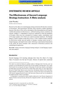 SYSTEMATIC REVIEW ARTICLE The Effectiveness of Second Language Strategy Instruction: A Meta-analysis