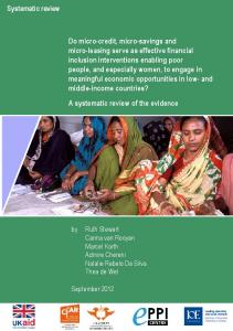 Systematic review Do micro-credit, micro-savings and