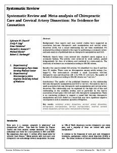 Systematic Review Systematic Review and Meta-analysis of Chiropractic Care and Cervical Artery Dissection: No Evidence for Causation