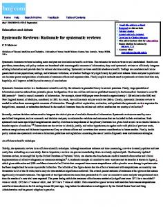 Systematic Reviews: Rationale for systematic reviews