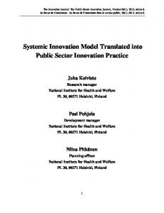 Systemic Innovation Model Translated into Public Sector Innovation Practice