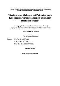 Systemische Mykosen bei Patienten nach Knochenmarktransplantation und unter Intensivtherapie