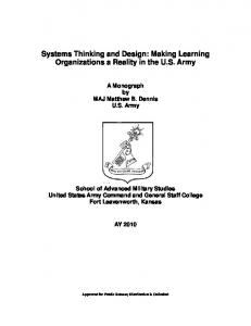 Systems Thinking and Design: Making Learning Organizations a Reality in the U.S. Army