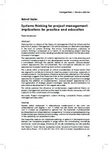Systems thinking for project management: implications for practice and education
