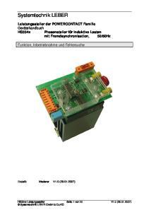 Systemtechnik LEBER. Funktion, Inbetriebnahme und Fehlersuche. Erstellt: Mederer V1.0 ( )
