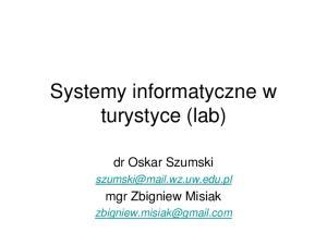 Systemy informatyczne w turystyce (lab)