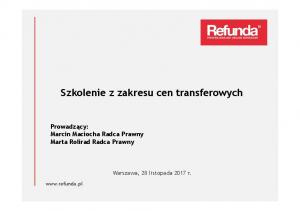 Szkolenie z zakresu cen transferowych