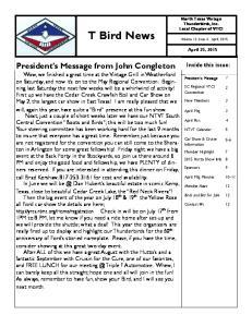 T Bird News Volume 12 Issue 4: April, 2015