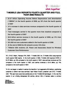 T-MOBILE USA REPORTS FOURTH QUARTER AND FULL YEAR 2008 RESULTS