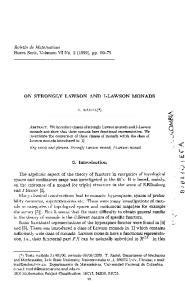 T. RADUL(*) Key words and phrases. Strongly Lawson monad, I-Lawson monad