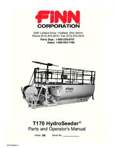 T170 HydroSeeder Parts and Operator s Manual