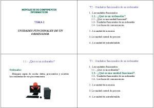 T2.- Unidades funcionales de un ordenador. TEMA 2 UNIDADES FUNCIONALES DE UN ORDENADOR. T2.- Unidades funcionales de un ordenador