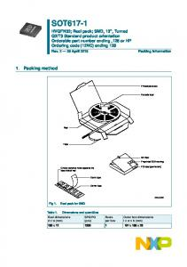 T3 Standard product orientation Orderable part number ending,128 or HP Ordering code (12NC) ending 128