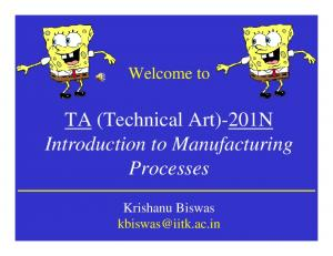 TA (Technical Art)-201N Introduction to Manufacturing Processes