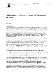 Tabellverket information about different types of forms