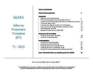 TABLA DE CONTENIDOS. Del 1 de enero de 2015 al 31 de marzo de 2015 *