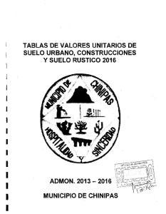 TABLAS DE VALORES UNITARIOS DE SUELO URBANO, CONSTRUCCIONES y SUELO RUSTICO 2016 I I I I I I I I I I I