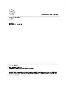 Table of Cases. Louisiana Law Review. Volume 51 Number 6 July Repository Citation