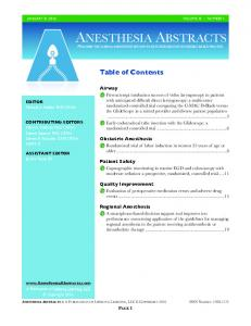 Table of Contents. Airway. Obstetric Anesthesia. Patient Safety. Quality Improvement. Regional Anesthesia