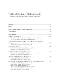 Table of Contents Alphabetically