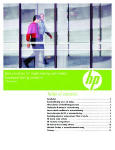 Table of contents. Best practices for implementing automated functional testing solutions. White paper