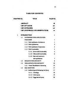 TABLE OF CONTENTS CHAPTER NO. TITLE PAGE NO. LIST OF TABLES LIST OF FIGURES LIST OF SYMBOLS AND ABBREVIATIONS