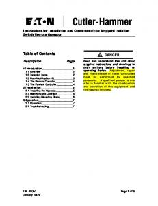 Table of Contents. Description. Instructions for Installation and Operation of the Ampgard Isolation Switch Remote Operator