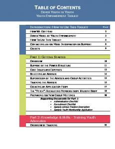 TABLE OF CONTENTS DOVER YOUTH TO YOUTH YOUTH EMPOWERMENT TOOLKIT