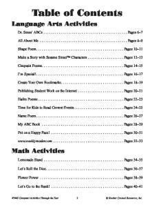 Table of Contents. Dr. Seuss ABCs... Pages 6 7. All About Me... Pages 8 9. Shape Poem... Pages Cinquain Poems