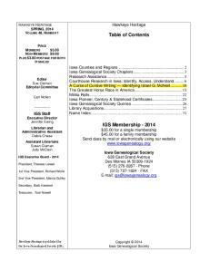 Table of Contents. Hawkeye Heritage HAWKEYE HERITAGE SPRING, 2014 VOLUME 48, NUMBER 1