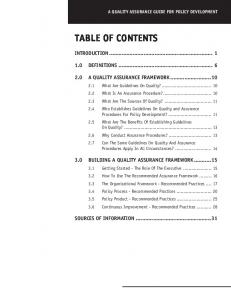 TABLE OF CONTENTS INTRODUCTION DEFINITIONS A QUALITY ASSURANCE FRAMEWORK BUILDING A QUALITY ASSURANCE FRAMEWORK