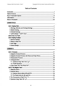 Table of Contents. Introduction... i Table of Contents... v Key to Transcription System... xi Abbreviations... xv Notes on Punctuation
