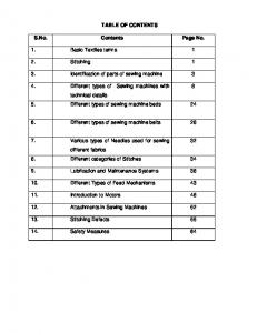 TABLE OF CONTENTS. S.No. Contents Page No. 1. Basic Textiles terms Stitching 1