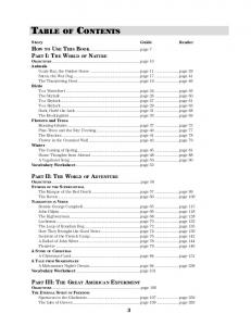 TABLE OF CONTENTS. Story Guide Reader