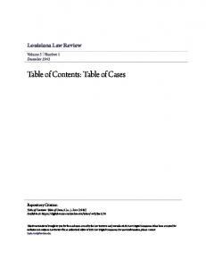Table of Contents: Table of Cases
