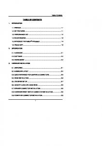 TABLE OF CONTENTS. Table of Contents 1. INTRODUCTION 1.1. PREFACE KEY FEATURES PERFORMANCE LIST