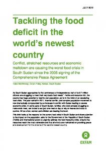 Tackling the food deficit in the world s newest country