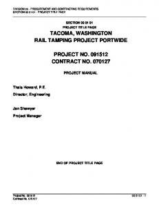 TACOMA, WASHINGTON RAIL TAMPING PROJECT PORTWIDE PROJECT NO CONTRACT NO